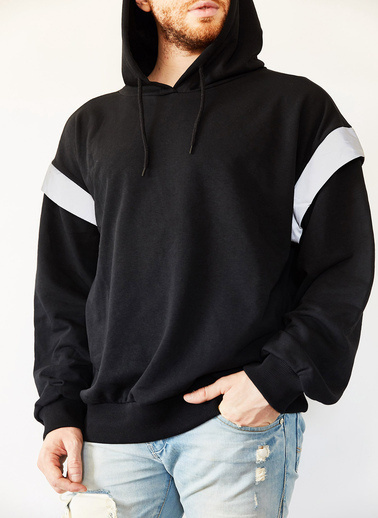 XHAN Siyah Reflektör Detaylı Oversize Bol Kesim Sweatshirt 0Yxe8-44070-02 Siyah